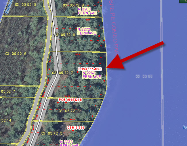 GIS Map - N2262 Fern Ave Waupaca Chain O Lakes close up