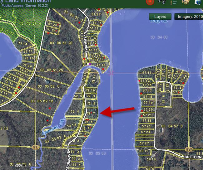 GIS Map - N2262 Fern Ave Waupaca Chain O Lakes wide