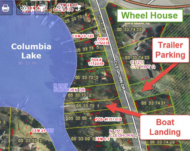 GIS Map Waupaca chain boating landings snug harbor