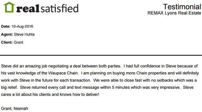 Satisfied Chain Buyer Testimonial for Steve Huhta and REMAX Lyons