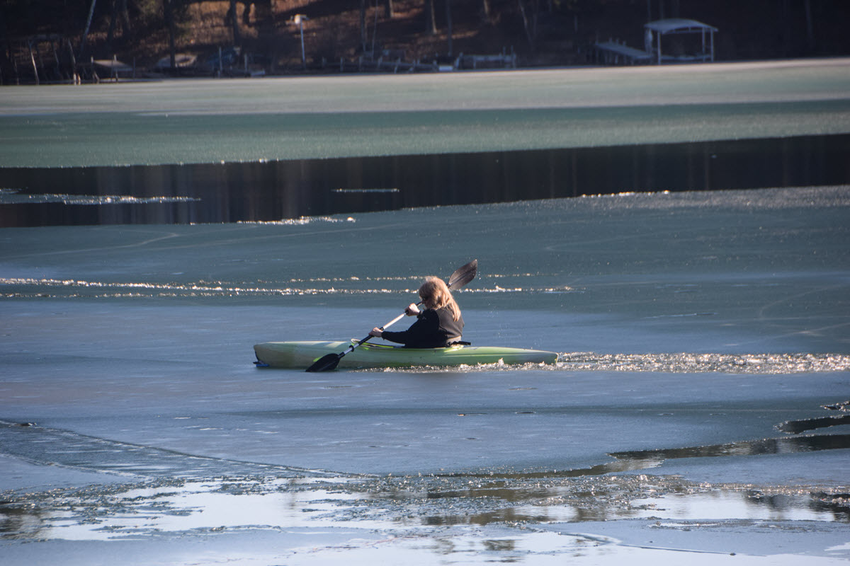 The Ice is Not Out of Columbia Lake Yet But, the First Kayak is IN